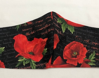Red Poppies Face mask. High Quality Cotton Fabric. Nose Wire and Inner Pocket for filter. Ear Cord Adjusts for size and comfort. Washable.