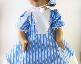 Blue Striped Civil War Dress & Bonnet 4-Piece Outfit for 18 Inch Doll, American Girl