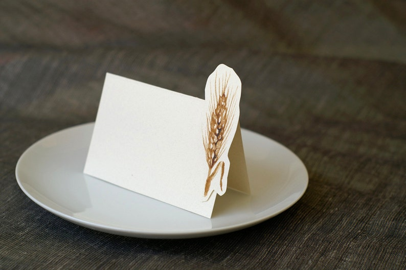 Wedding Place Card Gift Card Menu Card -weddings events Wheat Table Number Card
