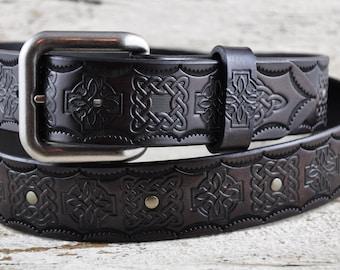 Celtic Legacy Black Leather Belt