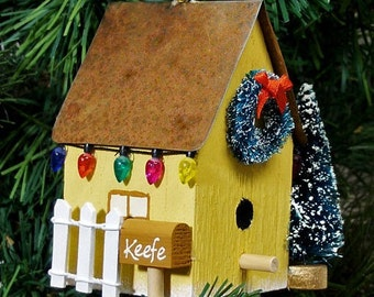 Personalized Yellow Birdhouse Christmas Ornament