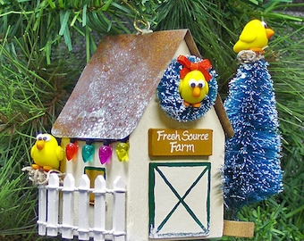 Personalized Chicken Coop Christmas Ornament