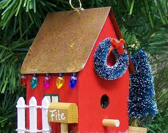 Personalized Red Birdhouse Christmas Ornament