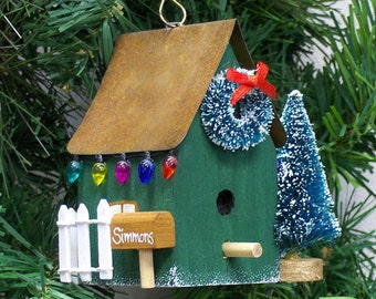 Personalized Green Birdhouse Christmas Ornament