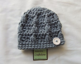 703fd0e9b7cae Baby Boy Hats - Crochet baby hats - Silver Grey Button Baby Boy hat -CHOOSE  YOUR SIZE - Newborn Photography props