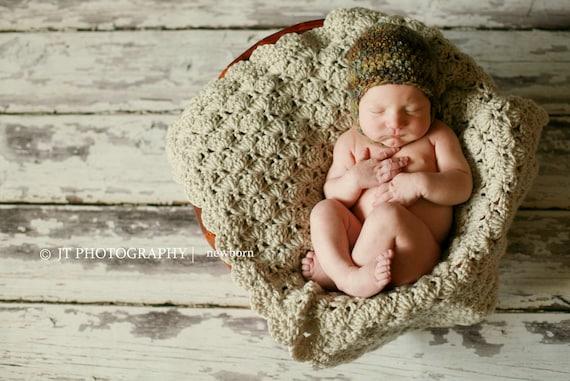 Baby Boy Blanket Unisex baby blanket Baby Girl Blanket Dark BrownTan Polar Bear StrollerTravelCar seat blanket Crochet baby blanket