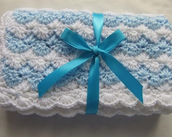 Baby Boy Blanket - Crochet baby blanket Baby Blue/White Shell Waves Stroller/Travel/Car seat - Baby boy shower gift