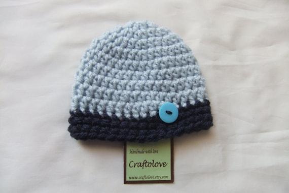 Twin Baby Boy Hat - Crochet Baby Boy Hats - Navy Blue/Light Blue Baby Boy  hats - Set of 2 - CHOOSE YOUR SIZE - Newborn Photography props
