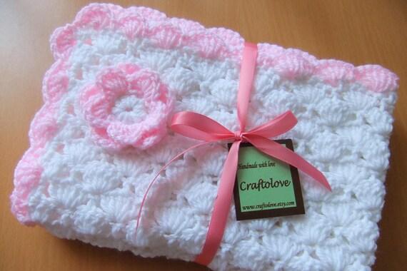 Häkeln Baby Decke Baby-Mädchen-Decke weiß und hell Rosa | Etsy