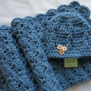 Crochet baby blanket Baby blanket Teal Blue StrollerTravel size blanket and Button Beanie Baby Boy Shower Gift Set Baby Boy Blanket