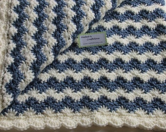 Baby Boy Blanket - Crochet baby blanket - Crochet boy blanket Crib size Country Blue Shell Waves - Baby shower gift