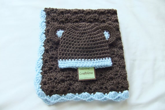 Baby Blue and Chocolate StrollerTravel Blanket and Beanie Baby Boy Shower Gift Set Crochet baby blanket