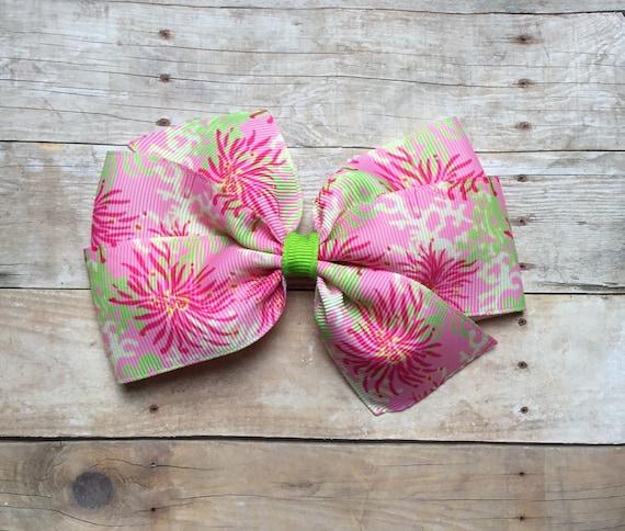 tropical kids accessory resort hair girl Pink Sea Turtles Print Bow by Cheryl/'s Bowtique beach teen cruise
