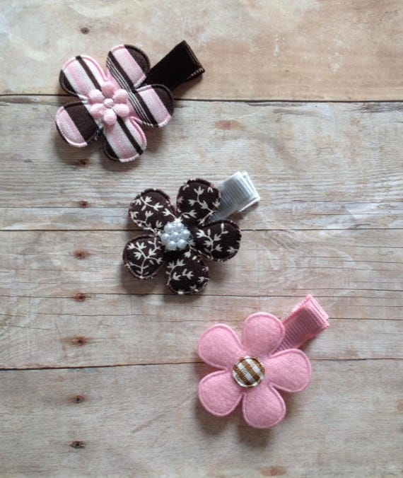 Pink And Brown Flower Clip Set By Cheryls Bowtique Etsy