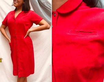 fee170a6856c Vintage 50s 60s Wiggle Dress, Sheath, Snap Front, Red Corduroy, Pin-Up  Bombshell Rockabilly Waitress