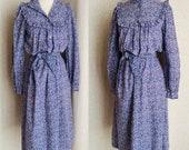 Vintage Laura Ashley Dress, Floral Cotton, Prairie, Side Pockets, Edwardian Hipster Grunge, Size 10 US 12 UK
