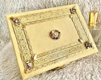 Curio Vintage Bedazzled Round Hand Made Indian Trinket Treasure Keepsake Jewelry Box with Ornate Beaded Design and Art Deco Rhinestones