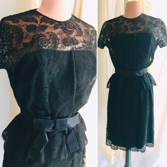 Sheer Illusion Cocktail Dress, Peplum, Black Lace, Party Dress, Pin Up, Vintage 50s 60s