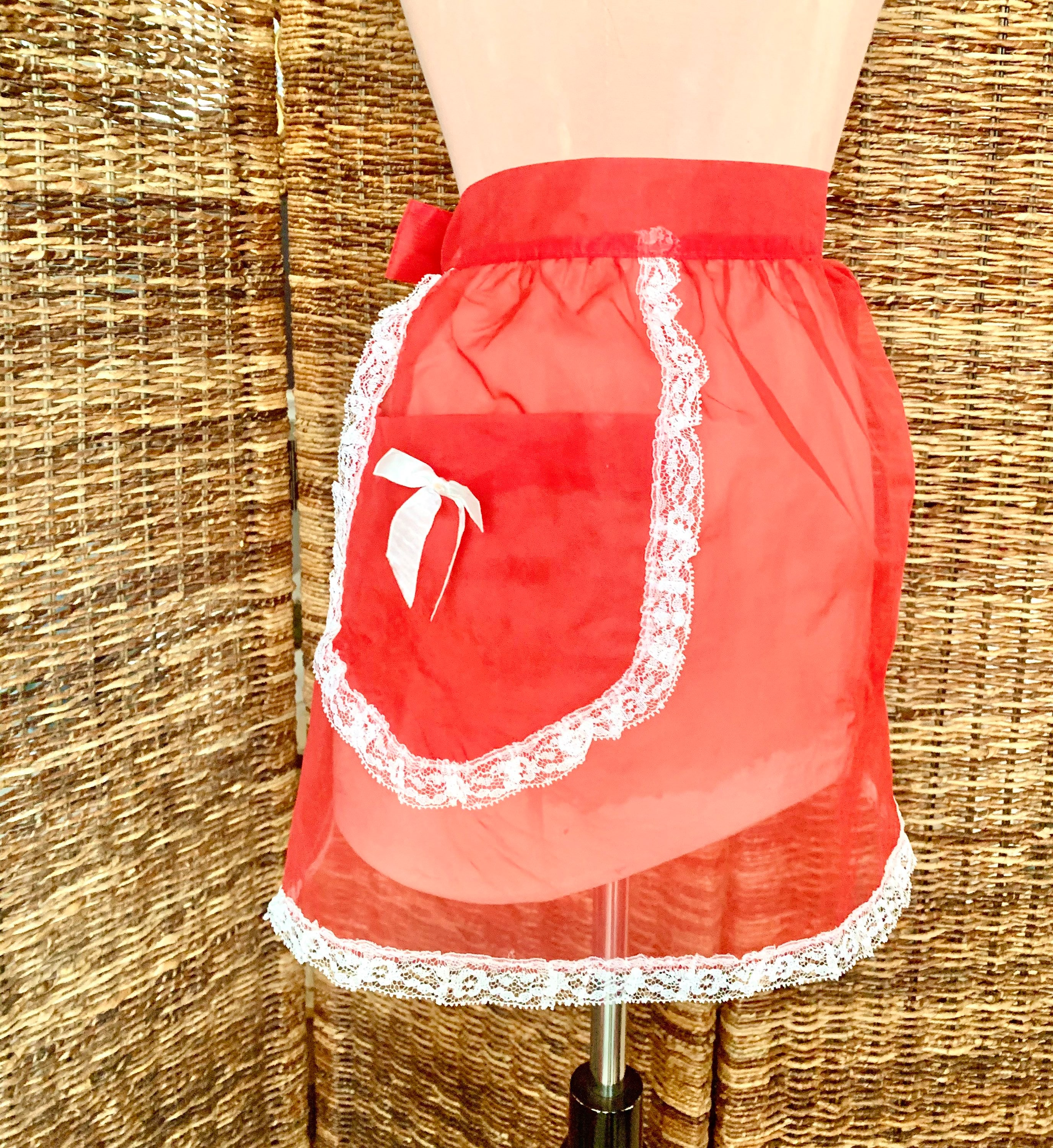 Vintage Aprons, Retro Aprons, Old Fashioned Aprons & Patterns Happy Holiday Hostess Apron Sheer Red, White, Vintage 50S 60S Home Kitchen $26.00 AT vintagedancer.com