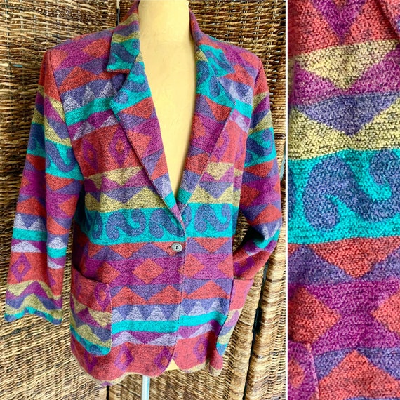 Blanket Coat, Jacket, Blazer, Ethnic Tribal Patter