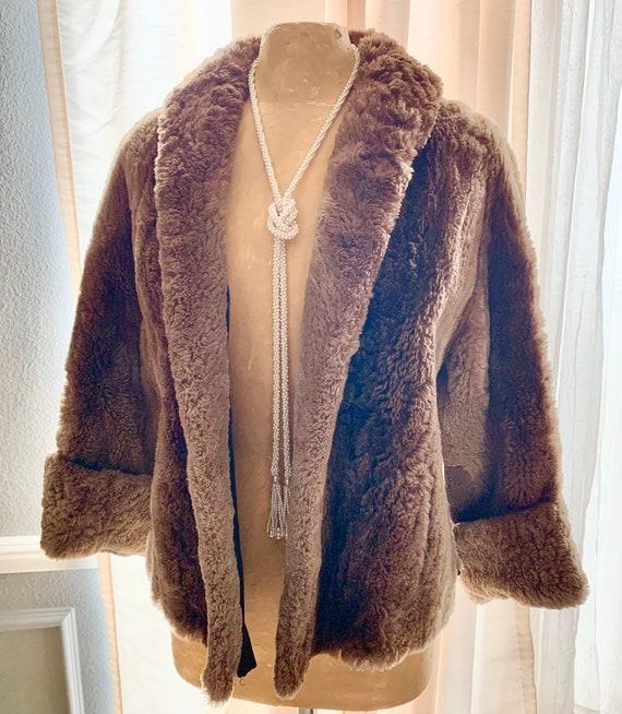 Vegan Faux Fur Jacket, Short Coat, Swing, Pin Up,