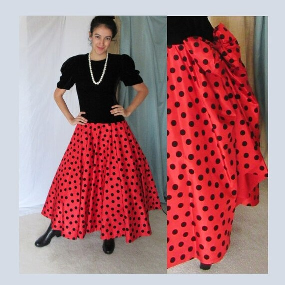 Polka Dot Dress, Big Bow Bustle, Puff Sleeves, Pin