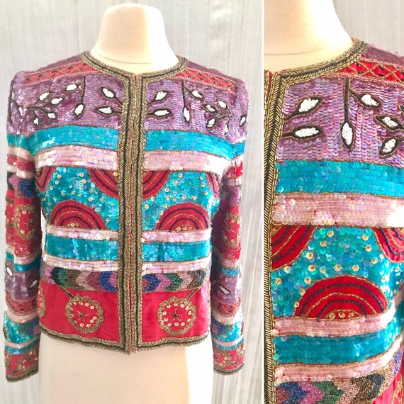 GlitzyTotally Sequins Jacket Blazer, All Over Bead