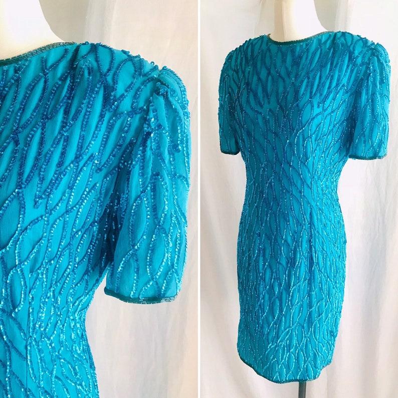 Wiggle Cocktail Vintage 80s 90s Teal Blue Beaded Dress Sequins
