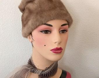 Mod Faux Fur Hat Vegan, Vintage 60s