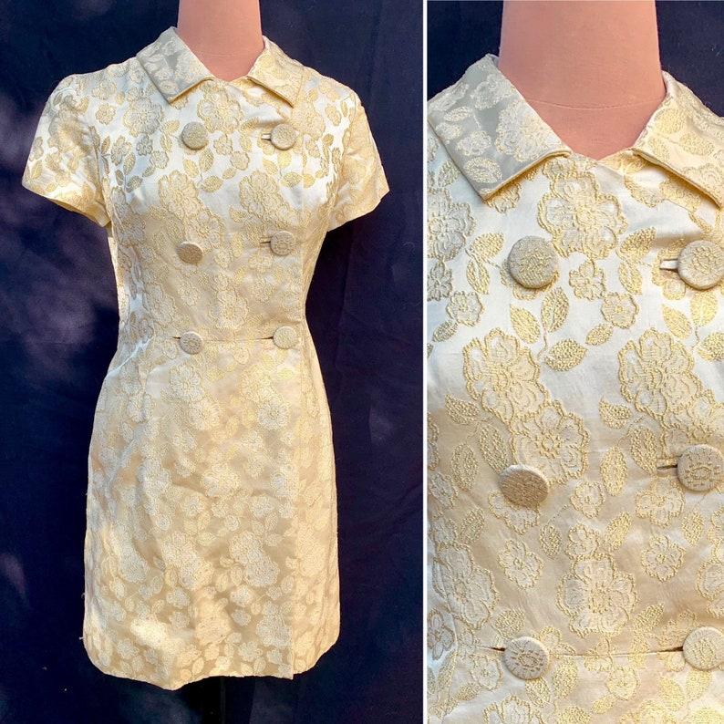 Gold Brocade Metallic Peter Pan Collar Vintage 60s 70s Space Age Mod Mini Dress