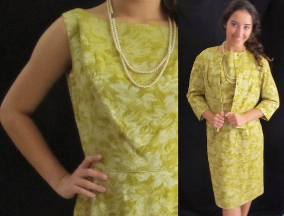 Gold Velvet Brocade Dress 2 Pc Suit Jacket Vintage 50s 60s Etsy