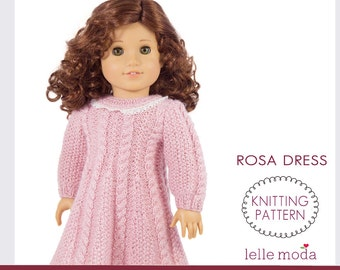 Doll Dress Pattern,  Knitting Pattern, Cable Knitted Dress for American Girl Dolls, 18 inch Dolls,   Doll Clothes,  Doll  Knit Cable Dress