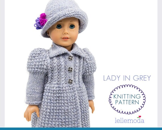 Stylish Knitted Coat For 18 Inch Dolls Knitting Pattern Etsy