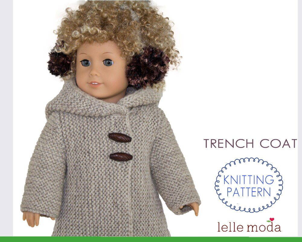 Winter Hooded Coat Knitting Pattern for 18 inch Dolls, fits American ...
