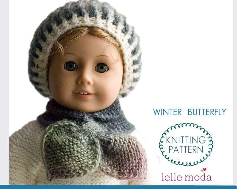 Winter Hat And Scarf Knitting Pattern For 18 Inch Dolls Fits Etsy