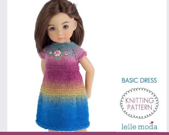 Basic Dress For Little Darling Dolls Knitting Pattern Doll Etsy