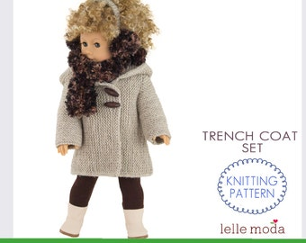 Winter Hooded Coat  for 18 inch dolls, Knitting Pattern, Includes Coat Hat Scarf and  Earmuffs  Patterns, Intermediate, PDF