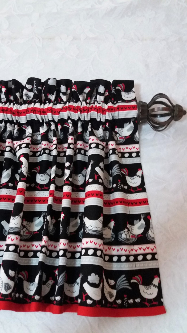 Kitchen Curtains Black Red Curtains Kitchen Valance Chicken Farmhouse Valance Rooster Valance Country Valance Kitchen Valance Curtains Window Treatments Home Living Safarni Org