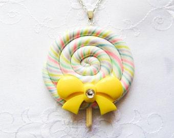 Jumbo Sized Pastel Rainbow Lollipop Necklace, Kawaii Necklace, Lolita Necklace, Polymer Clay, Candy Necklace, Kawaii, Lolita, Fairy Kei