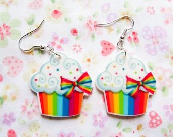 Rainbow Cupcake Earrings, Kawaii Earrings, Cute Earrings, Food Earrings, Rainbow Cake, Sprinkle Cupcake, Sweet Lolita