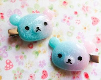 Kawaii Bear Hair Clips, Kawaii Hair Clips, Hairclips, Galaxy, Bear, Pastel, Fairy Kei, Cute Hair Clips, Teen / Girls Gift