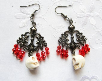 Day of the Dead - Skull Earrings, Goth Earrings, Halloween, Skull, Gothic, Victorian Earrings
