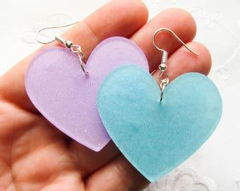 Mismatched Heart Earrings / Big Earrings / Kawaii Earrings / Big / Heart / Mismatched / Cute Earrings / Pretty / Earrings