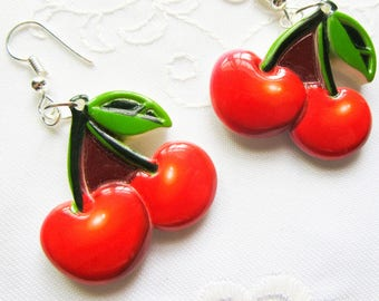 Cherry Earrings / Fruit Earrings / Kawaii / Summer / Cute Earrings/ Fun / Cherries / Earrings