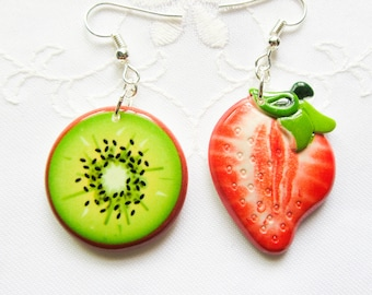 Strawberry Kiwi Earrings / Fruit Earrings / Kawaii / Summer / Cute Earrings/ Fun / Mismatched / Earrings