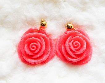 Coral Rose Earrings / Flower Earrings / Big Flower Earrings / Big Rose Earrings / Pretty Earrings