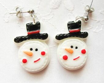 Cute Snowman Earrings, Snowman Earrings, Christmas Earrings, Winter Earrings, Studs, Posts, Christmas, Snowmen