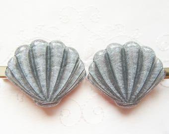 Kawaii Seashell Hair Clips / Kawaii / Shell / Mermaid / Nautical / Grey / Gray / Cute / Glitter / Hair Clips