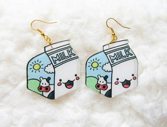 Kawaii Milk Carton Earrings / Milk Earrings / Kawaii Earrings | Etsy