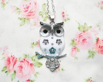 Owl Necklace, Owl Charm Necklace, Owl Pendant Necklace, White Owl Necklace, Pretty Owl Necklace, Rhinestone Owl Necklace, Big Owl Necklace